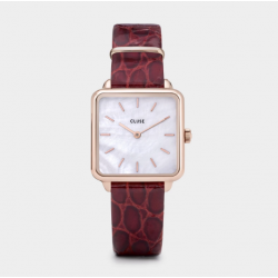 La Tétragone Leather Rose Gold White Pearl/Red Alligator